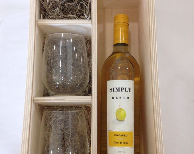 Wine Box with slide lid - stemless wine glasses included
