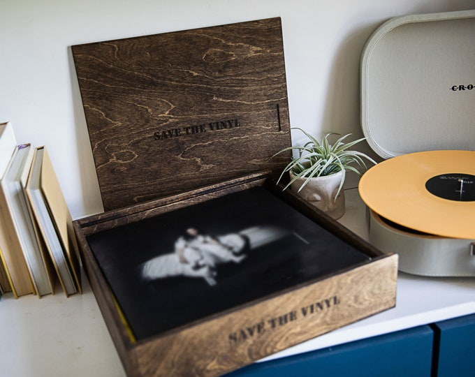 Vinyl Record wood box - 13 x 13.25 x 2.5  (includes custom engraving on top and one side)