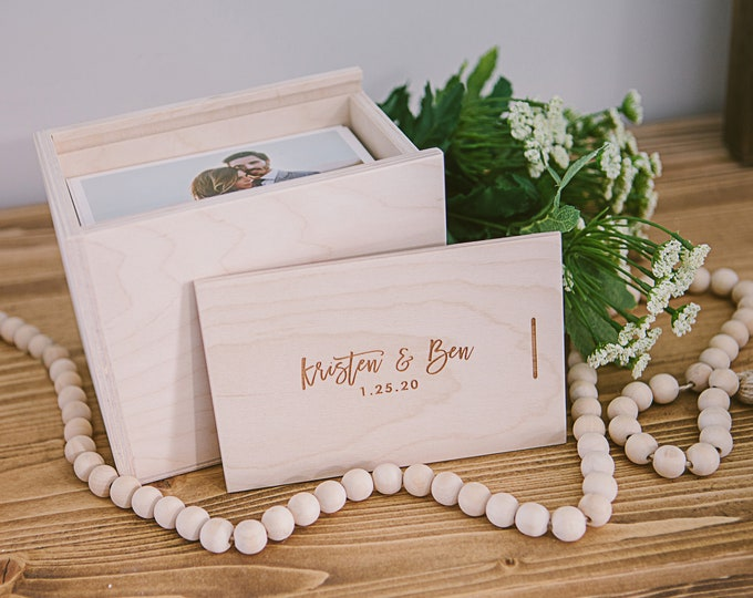 custom - 4x6 and 5 inches deep - Wood print box with enough space for 4x6 prints