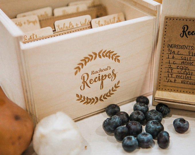 5x7 Laser Engraved Wood Recipe Box with recipe stand also includes engraved wood recipe card dividers and (42) 5x7 recipe cards