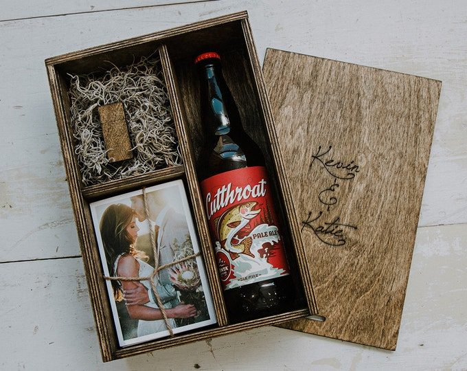 Set of 10 - Beer/Print Box with enough space for 4x6 prints and USB drive and 22oz beer bottle
