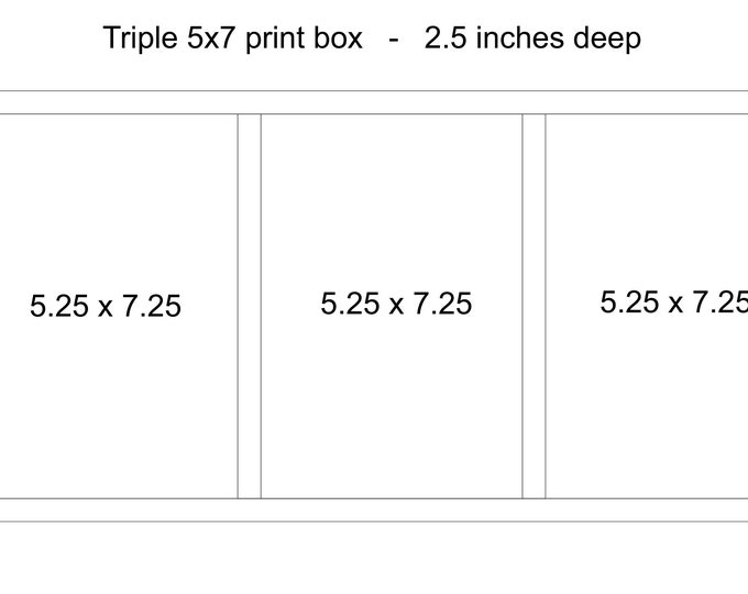Custom Triple 5x7x2.5 - Wood print box for 5x7 photos - (NO USB section)
