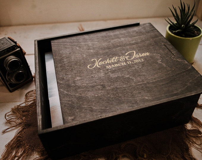 Custom set of 25 - 12x12x2.5 - (COLOR - Distressed White) - Wood Album Box (NO area for USB) - Laser Engraved with Silver inlay
