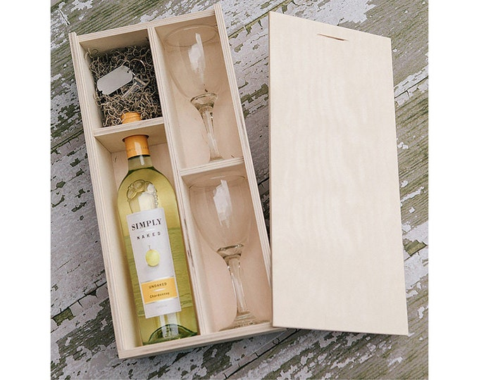 Set of 10 - Wine Box with enough space for a USB drive (2 wine glasses included in the box)
