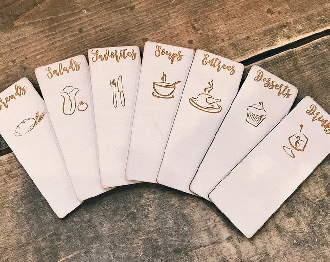 3X5, 4x6 or 5x7- CUSTOM engraved wood recipe card dividers