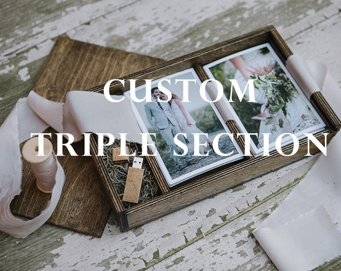 TRIPLE 4x6x1.5 - Wood print box for 4x6 photos and an area for a USB drive - (spanish moss included)