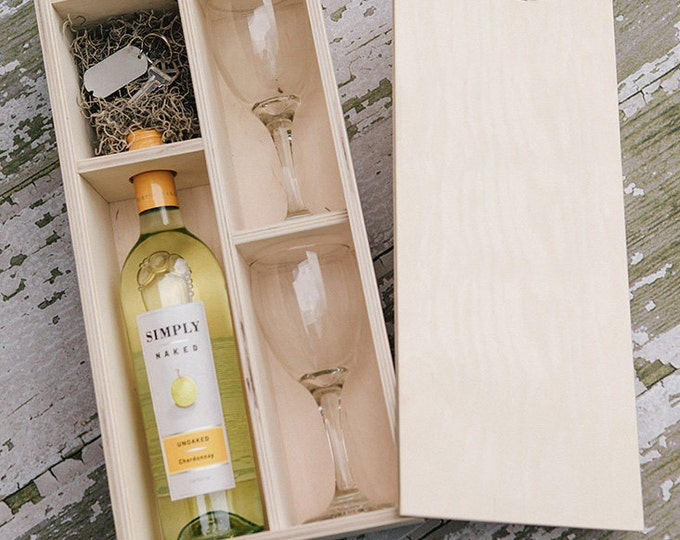 Wine Box with enough space for a USB drive (2 wine glasses included in the box)