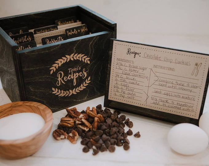 4x6 - Wood Recipe Box with recipe stand - 4x6 recipe cards - engraved wood recipe card dividers