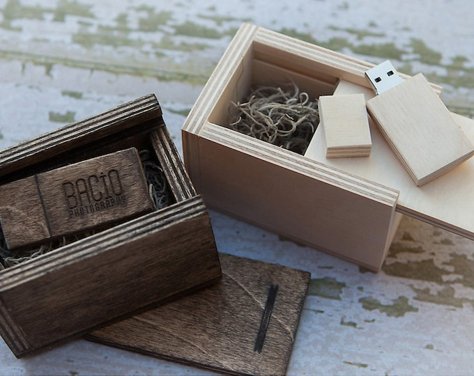 Custom set of 20 USB boxes - 3x3x1.5 - Square - Wood box for USB drives - option to add 16gb USB 3.0 - spanish moss included