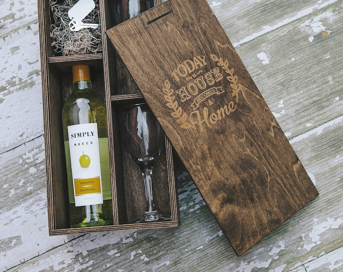 Engraved (House/Home logo) Wine Box with enough space for a USB drive (2 wine glasses included in the box)
