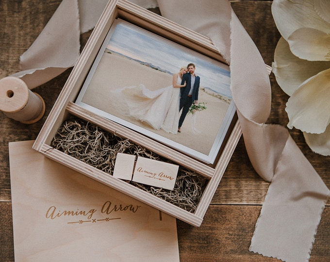 4x6 Wood print box - photo box with enough space for prints and usb drive - square - (option to add 8gb USB)