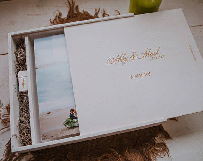 Custom 13x13x2 - Wood Album Box with a separate section for a USB