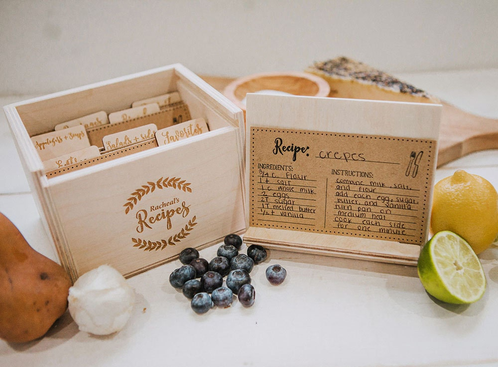 Wood Recipe Box For 3x5 Recipe Cards Includes 7 Laser Engraved