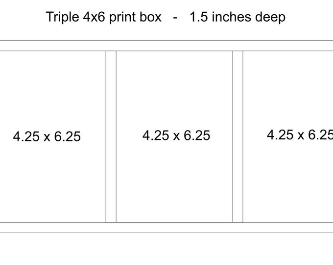 Custom Triple 4x6x1.5 - Wood print box for 4x6 photos - (NO USB section)