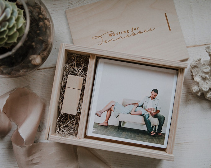 5x5 Wood print box with enough space for 5x5 prints and usb flash drive