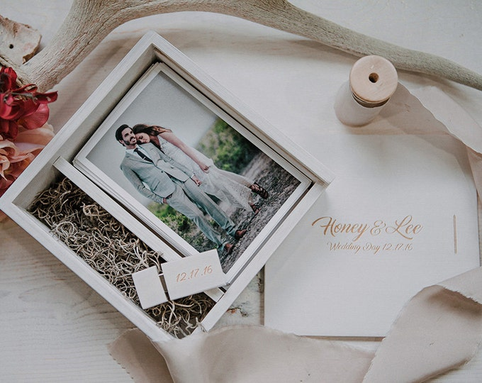 Set of 24 - (save 4 dollars per box) 4x6 Wood print box with enough space for prints and usb drive - square - (spanish moss included)