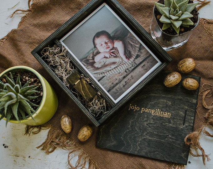 Set of 25 - (save 4 dollars per box) 5x7 Wood print box with enough space for prints and usb drive - square - (spanish moss included)