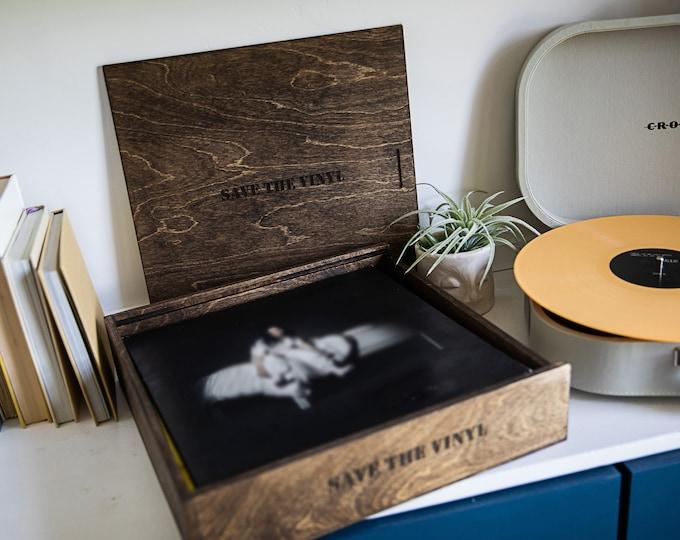 Vinyl Record wood box - 13 x 13.25 x 2.5