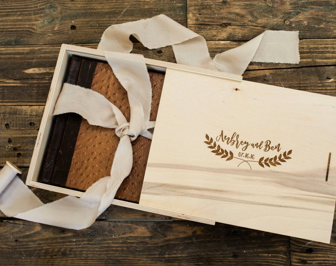 Custom (100) boxes  -  10x14x4  -  Wood box with sliding lid - laser engraved - (no dividers) - Natural