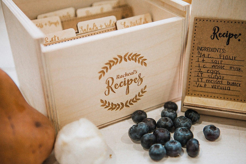 5x7  Wood Recipe Box with recipe stand option to add recipe image 0