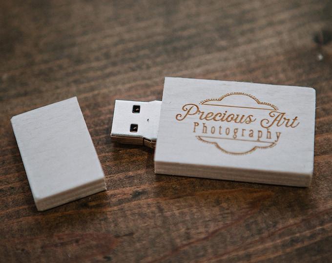 FAST USB 3.0 - 8gb-16gb-32gb White wood USB 3.0 flash drive. Color - White
