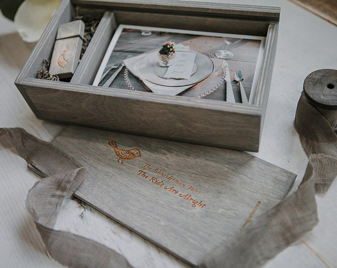 Set of 12 - 4x6 (save 3 dollars per box) Wood print box for 4x6 photos and usb drive - rectangle - (spanish moss included)