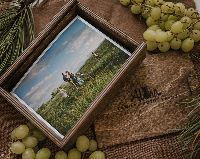 Set of 6 - 5x7 Wood print box with enough space for 5x7 prints
