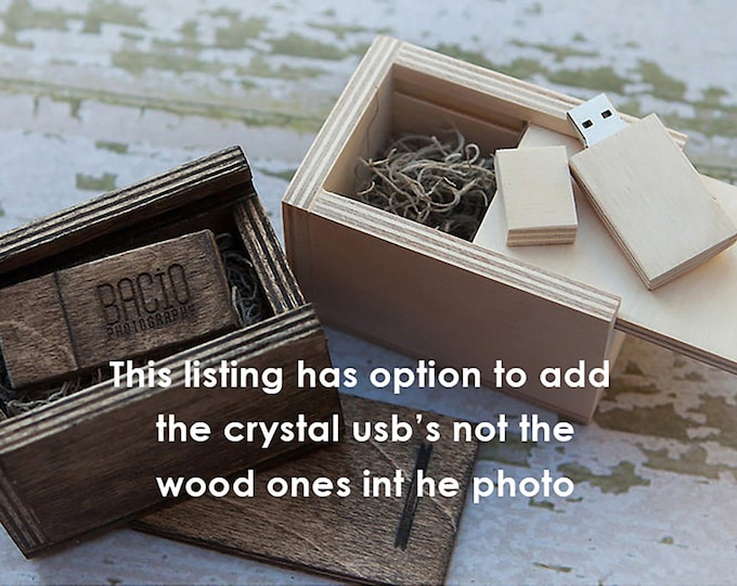16gb crystal USB 3.0 with matching wood USB box - (spanish moss included)