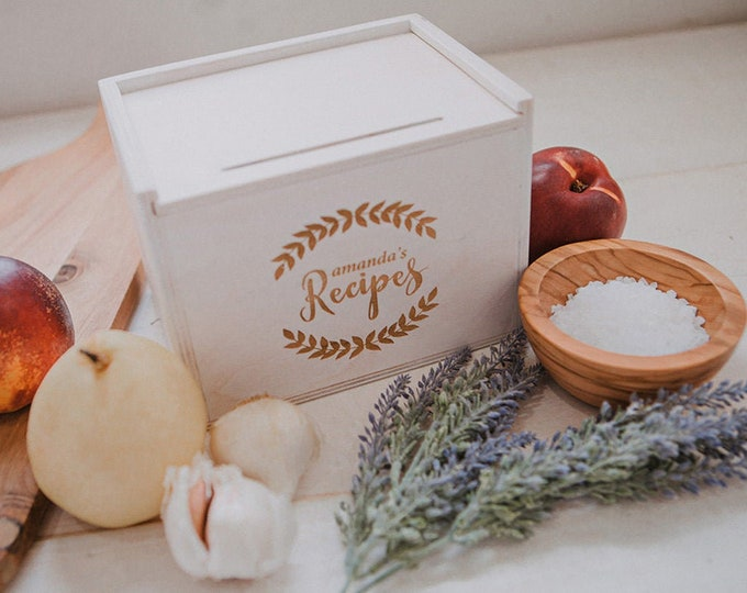 5x7 - Wood Recipe Box with recipe stand (Box only with option to add recipe cards)