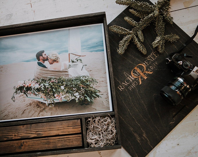 11x14x3 - Wood print box with photo stand and space for usb + 11x14 prints - (spanish moss included)