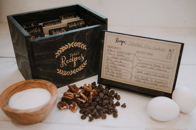 4x6  Wood Recipe Box with recipe stand  4x6 recipe cards  image 0