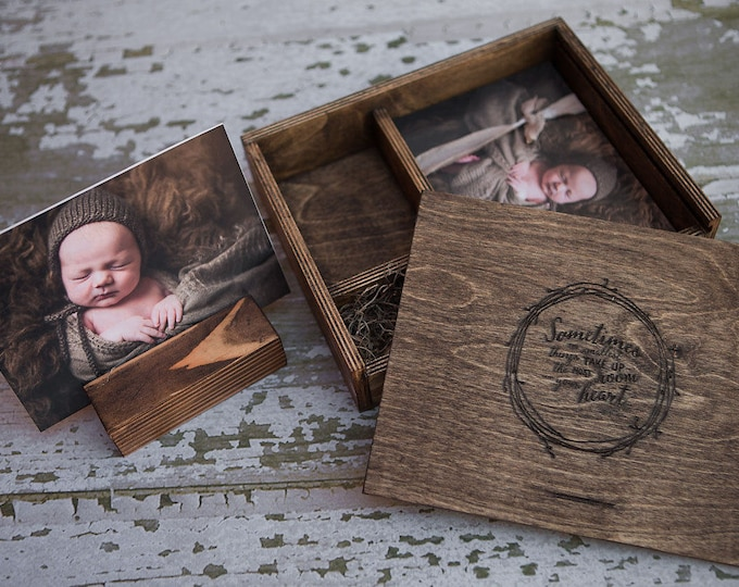 5x7 Wood print box with photo stand and enough space for 5x7 prints and usb drive - (spanish moss included)