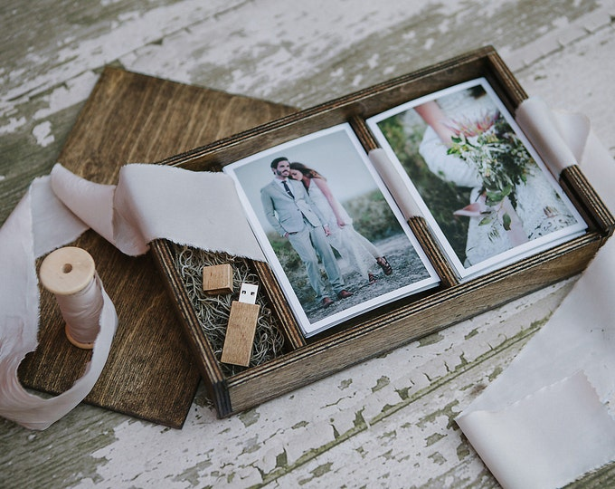 Set of 8 - (save 2 dollars per box) Double 4x6 - Wood print box for 4x6 photos and usb drive - (spanish moss included)
