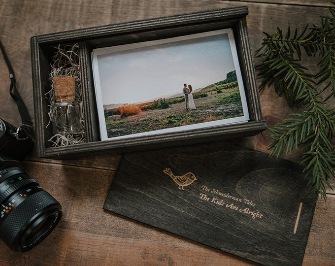 SET of 6 - (save 2 dollars per box) - 4x6 Wood print box for 4x6 photos and usb drive - rectangle - (spanish moss included)
