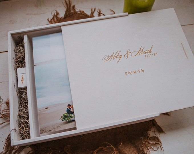 13x13x2.25 Wood Album Box with a separate space to hold a USB drive