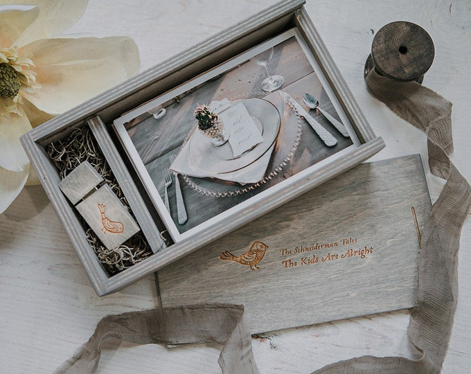 SET of 8 - 4x6 Wood print box for 4x6 photos and usb drive - rectangle - (spanish moss included)