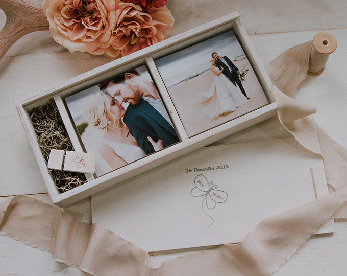 Double 5x5 Wood print box with enough space for 5x5 prints and usb drive - (spanish moss included)