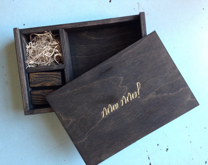 Reserved JENNE - set of 4-  5x5 Brown wood print box with photo stand and enough space for 5x5 prints and usb drive