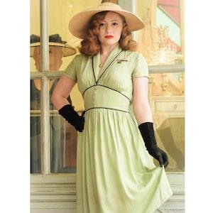 10+ Websites with 1940s Dresses for Sale Dina 40s Dress Style Polka Dots Print Vintage inspired shawl collar $154.28 AT vintagedancer.com