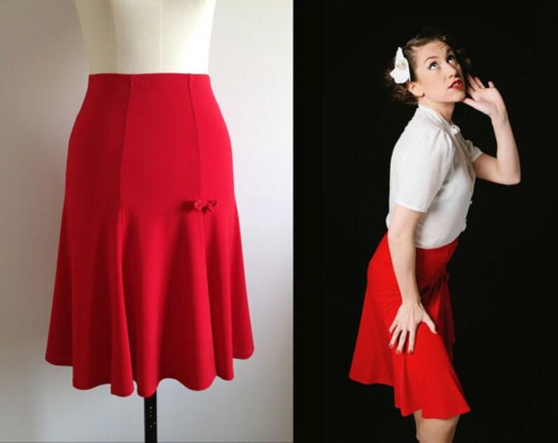 RED TRUMPET SKIRT/ 1940s style / Lindy Hop Skirt / Swing Skirt image 0