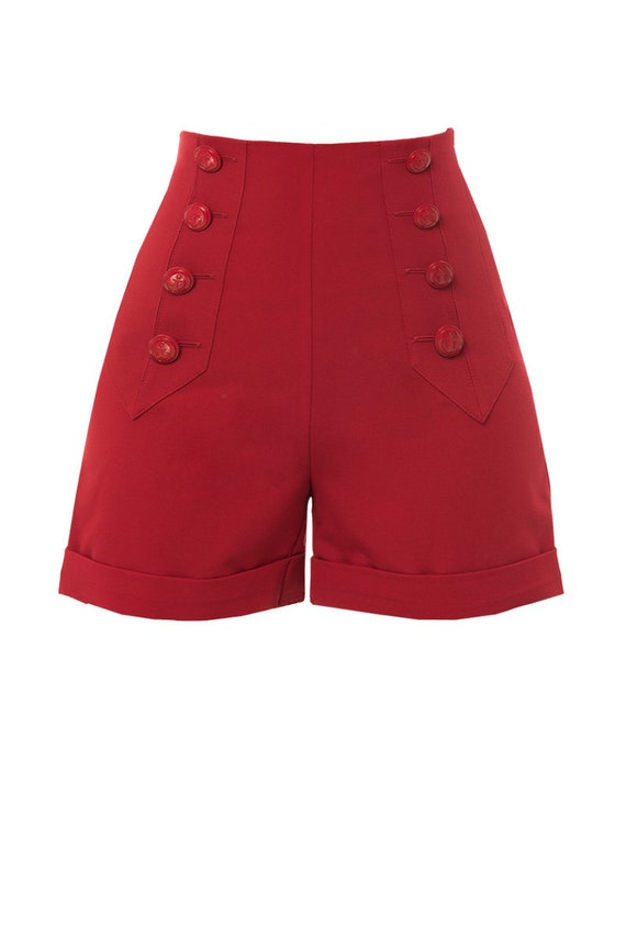 Vintage High Waisted Shorts, Sailor Shorts, Retro Shorts RED SAILOR SHORTS 1940s style high waisted swing pants Green Grey $81.06 AT vintagedancer.com