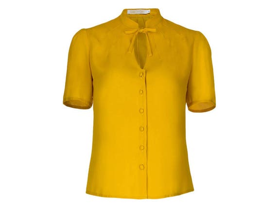 Vintage & Retro Shirts, Halter Tops, Blouses 1940s Style Blouse- Yellow- Vintage Swing Retro Shirt- Mandarin collar- Short sleeves- Keyhole neckline $101.76 AT vintagedancer.com