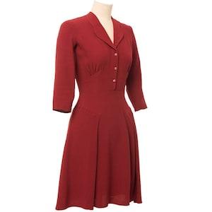 10+ Websites with 1940s Dresses for Sale Balboa Dress 1940s style vintage inspired collar 3/4 sleeves red brick color. $160.45 AT vintagedancer.com