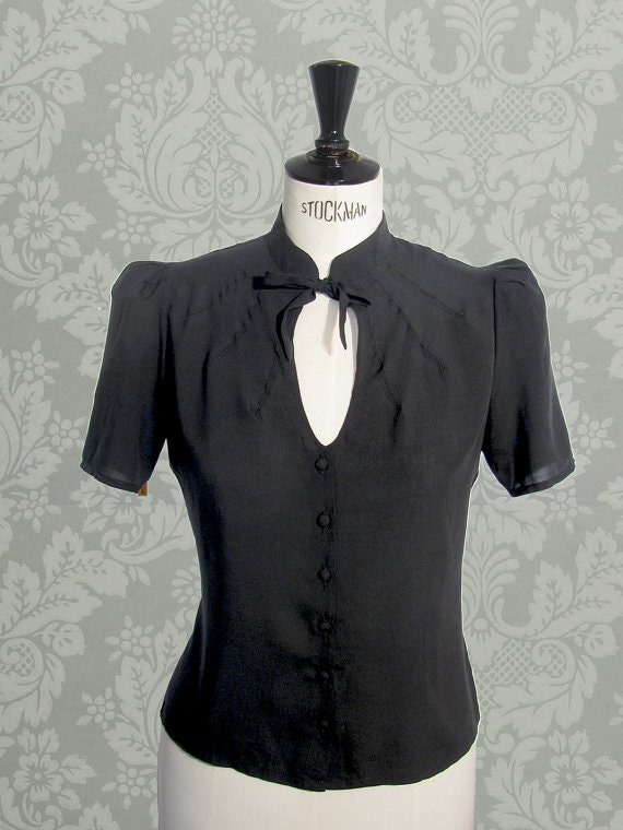 The Essential 1940s Style Blouse Vintage Frills: 1940s Style Black Blouse Vintage Swing Retro Shirt