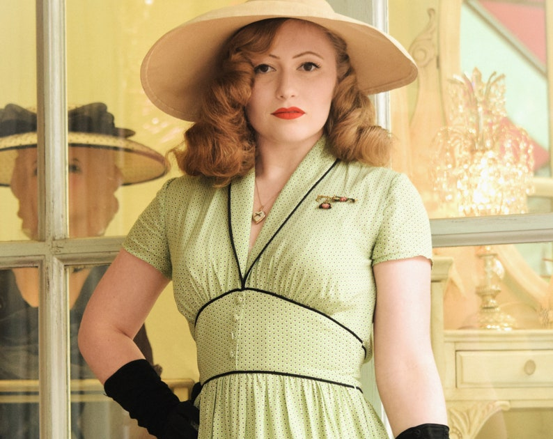 1940s Style Clothing & 40s Fashion Dina 40s Dress Style Polka Dots Print Vintage inspired shawl collar $154.28 AT vintagedancer.com