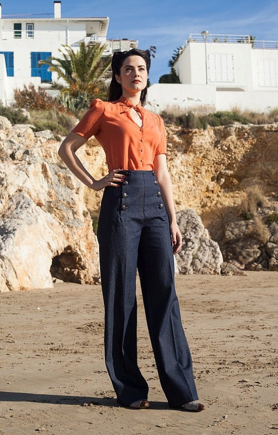 Vintage High Waisted Trousers, Sailor Pants, Jeans SAILOR DENIM PANTS high waist 1940s style swing pants $117.32 AT vintagedancer.com