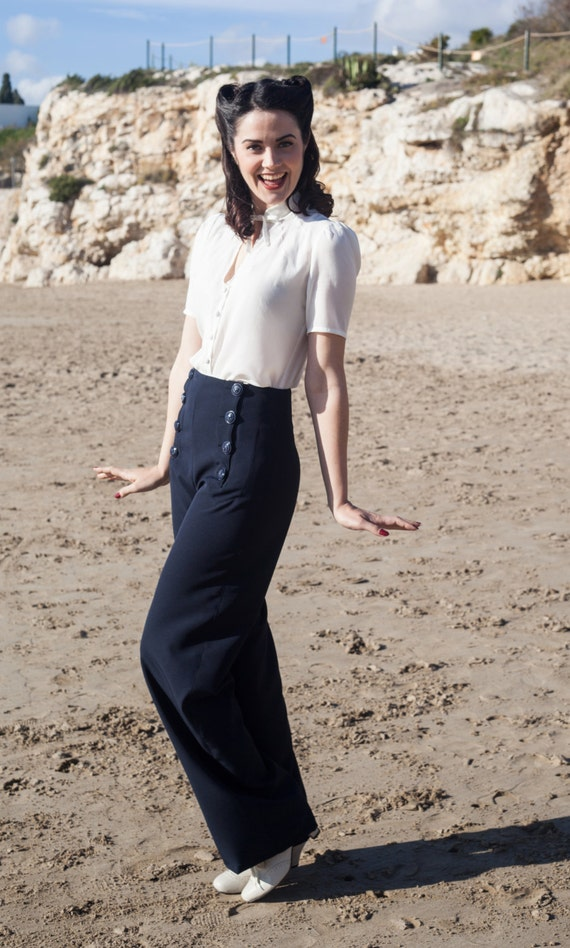 1940s Pants History- Overalls, Jeans, Sailor, Siren Suits NAVY blue SAILOR PANTS high waist navy blue 1940s style swing pants $96.33 AT vintagedancer.com