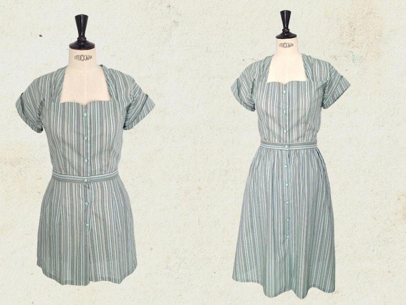 Vintage Rompers, Playsuits | Retro, Pin Up, Rockabilly Playsuits 1940s playsuit romper + skirt stripped mint vintage inspired. $175.98 AT vintagedancer.com