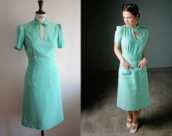 1940s dress/ Mint green dress/ Mandarin collar/ 40s reproduction/WW2