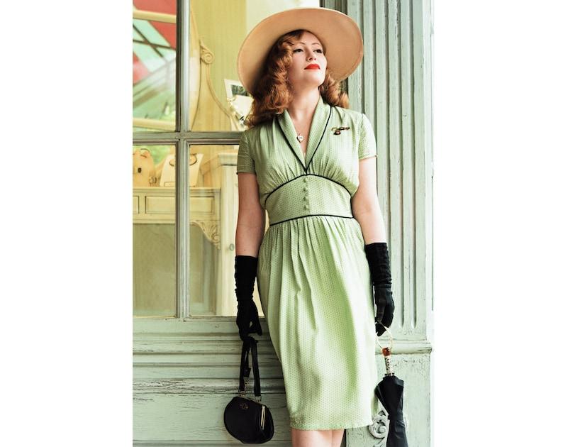 Vintage Style Dresses | Vintage Inspired Dresses Dina 40s Dress Style Polka Dots Print Vintage inspired shawl collar $154.28 AT vintagedancer.com